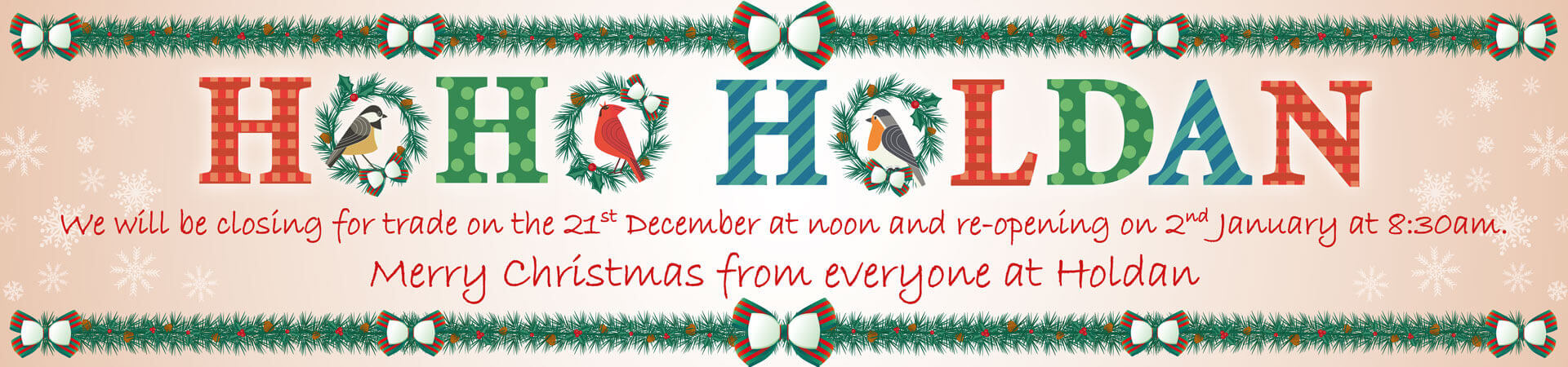 Christmas Closure & Last Order Dates
