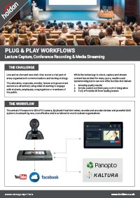 PLUG & PLAY WORKFLOWS<br>Lecture Capture, Conference Recording & Media Streaming