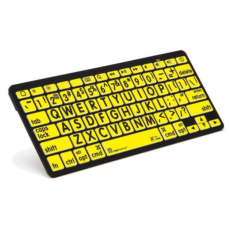 Logickeyboard XL Print - Black on Yellow Bluetooth Mini Keyboard