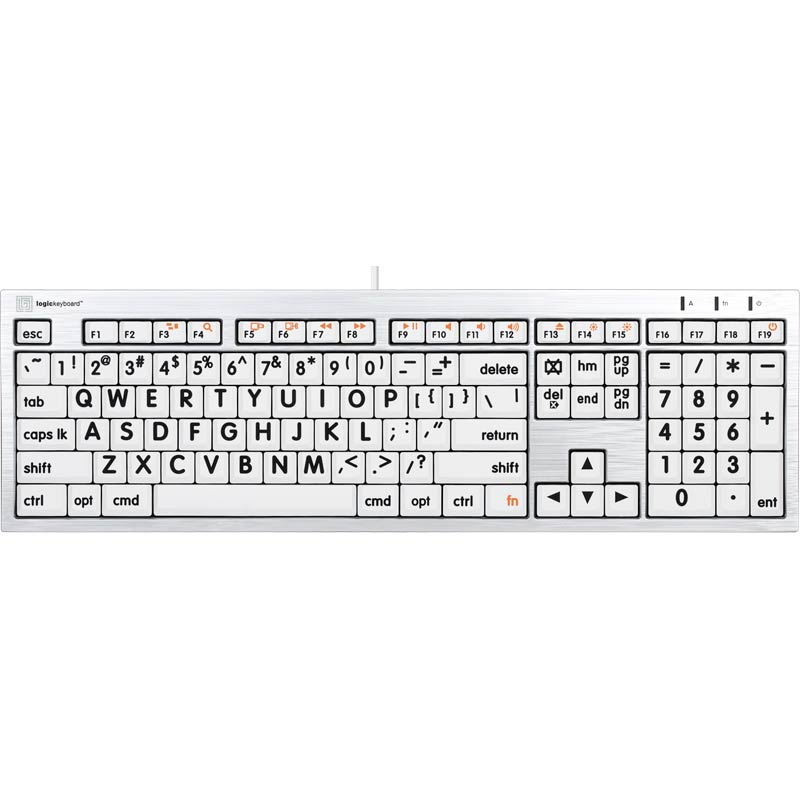 Logickeyboard XL Print - Black on White Mac Alba
