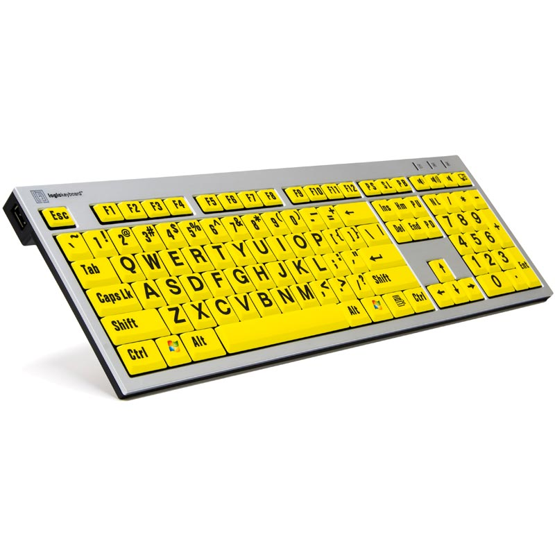 Logickeyboard XL Print PC Slim Line Black on Yellow Keyboard
