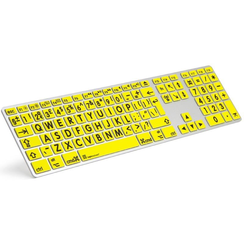 Logickeyboard XL Print - Black on Yellow Apple Advance Keyboard