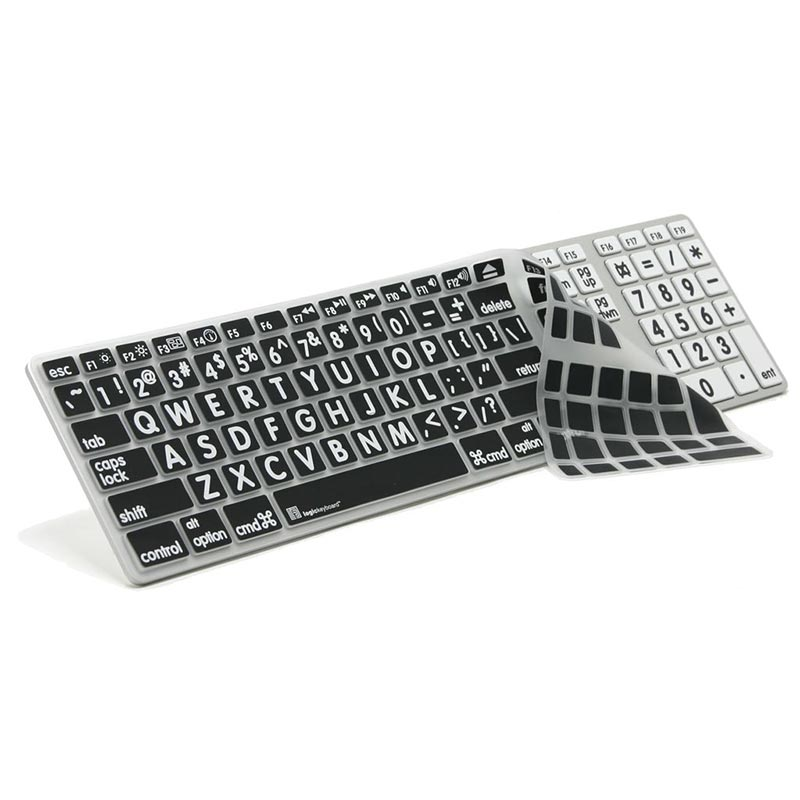 Logickeyboard XL Print LogicSkin White on Black Keyboard Cover