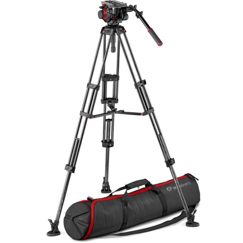 Manfrotto 504 Video Head w/CF Twin Leg Tripod MS 100/75mm