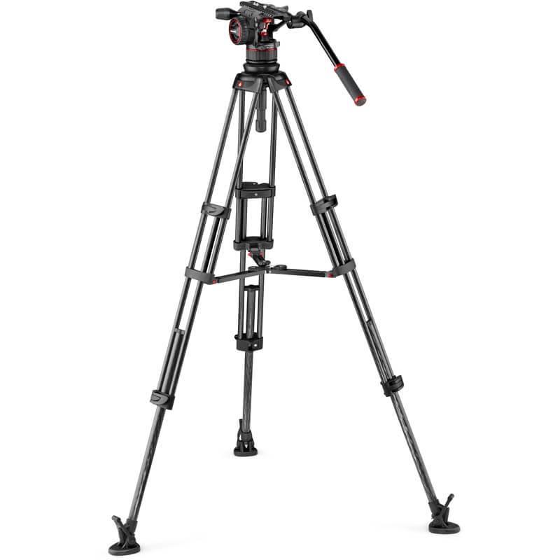 Manfrotto Nitrotech N12 video head w/CF Twin leg Tripod MS 100/75mm