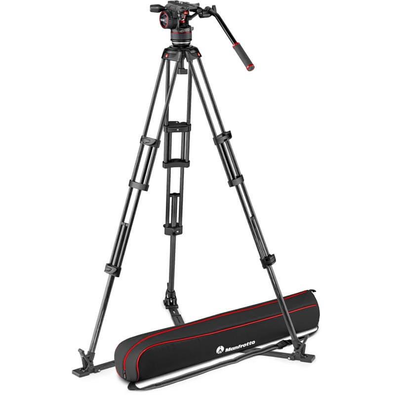 Manfrotto Nitrotech N8 video head w/CF Twin leg tripod GS 100/75mm