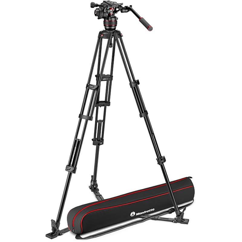 Manfrotto Nitrotech 608 Fluid Video Head w/Alu Twin Leg Tripod GS 100/75mm