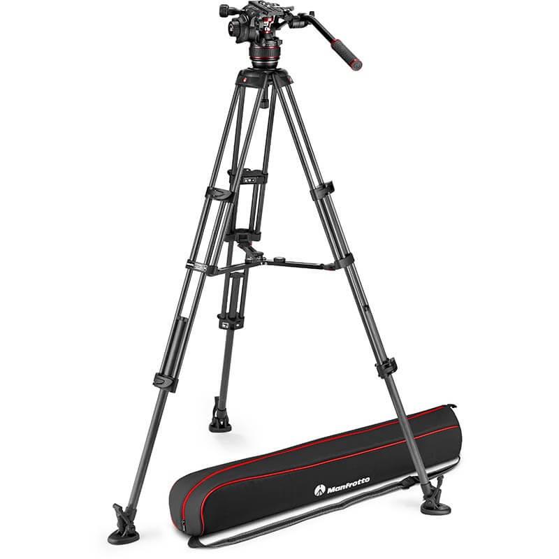 Manfrotto Nitrotech 608 Fluid Video Head w/CF Twin Leg Tripod MS 100/75mm