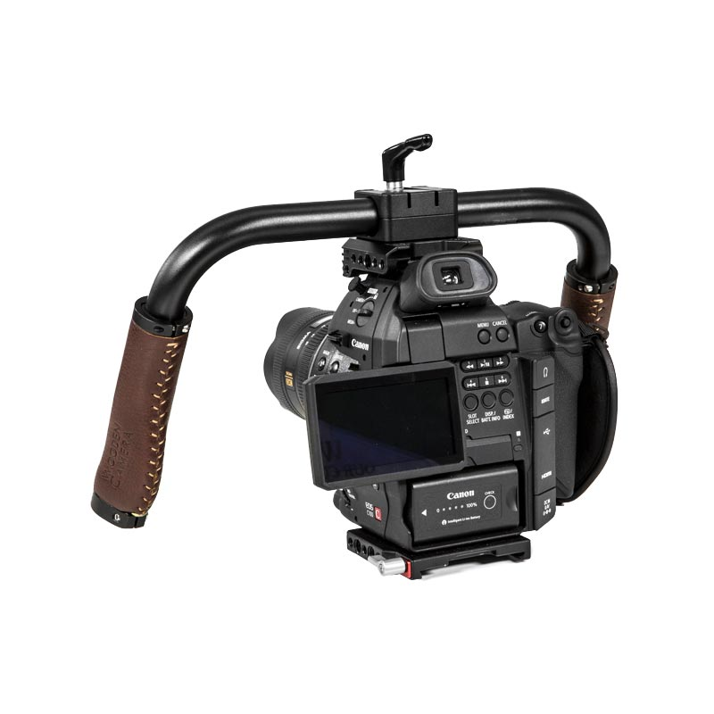 Wooden Camera Handlebar (Brown Leather)